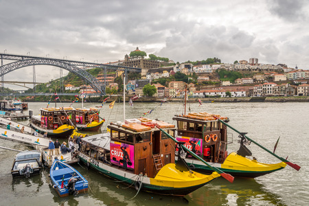 PORTO, PORTUGAL - MAY 13,2017 - Embankment of Douro River in Porto. Porto is one of the oldest European centers, and its historical core was proclaimed a World Heritage Site by UNESCO in 1996.