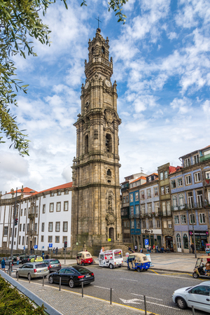 PORTO,PORTUGAL - MAY 13,2017 - Tower bell Clerigos in the street of Porto. Porto is one of the oldest European centers, and its historical core was proclaimed a World Heritage Site by UNESCO in 1996.