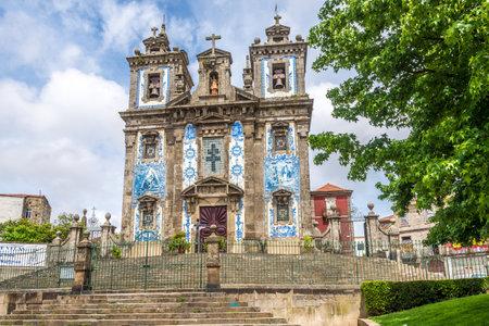 Azulejo decorated facade of church Saint Ildefonso in Porto - Portugal Editorial