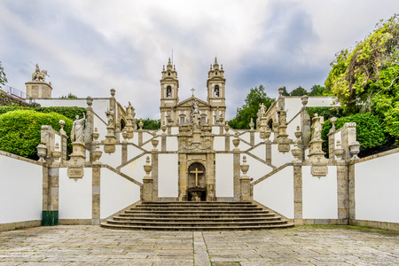 Stairway (Via Sacra) and church of Bom Jesus do Monte in Tenoes near Braga in Portugal