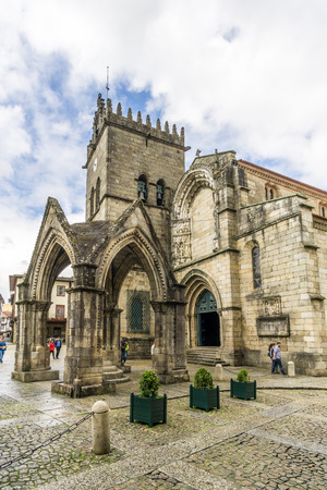 GUIMARAES,PORTUGAL - MAY 14,2017 - Church of Nossa Senhora da Oliveira in Guimaraes. The city was settled in the 9th century, at which time it was called Vimaranes.
