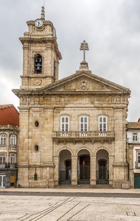 Basilica Sao Pedro at the sqaure Largo do Toural in Guimaraes - Portugal