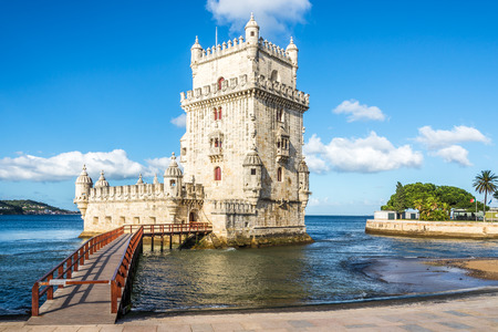 View at the Belem tower at the bank of Tejo River in Lisbon - Portugal