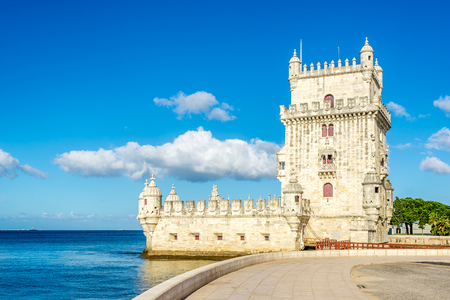 Belem tower at the bank of Tejo River in Lisbon - Portugal Stock Photo