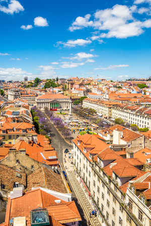 LISBON, PORTUGAL - MAY 18,2017 - View at the Rossio square from Santa Justa in Lisbon. Lisbon is the capital of Portugal.