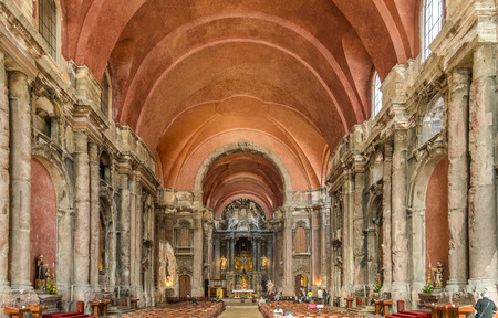 domingo: LISBON, PORTUGAL - MAY 18,2017 - Interior of Church of Sao Domingo in Lisbon. Lisbon is the capital of Portugal.