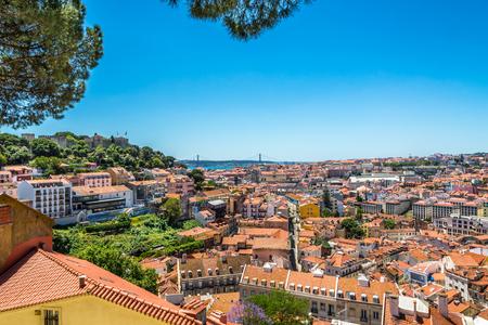 View at the city from viewpoint near church da Graca in Lisbon - Portugal