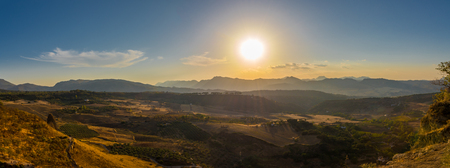 Panoramic view at the evening nature near Ronda in Spain