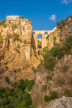 View at the El Tajo gorge with bridge (Puente Nuevo)in Ronda - Spain Stock Photo