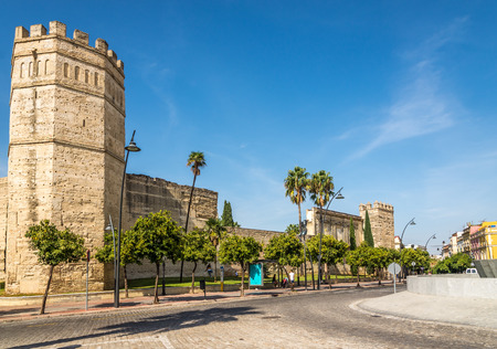 JEREZ FROM FRONTERA, SPAIN - SEPTEMBER 30,2017 - View at the Alcazar wall of Jerez de la Frontera. Jerez is known as the city of flamenco, sherry, horses and motorcycles.