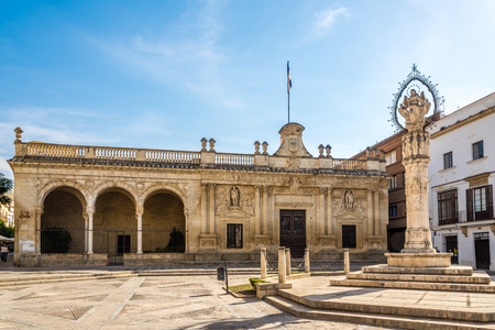JEREZ DE FRONTERA, SPAIN - SEPTEMBER 30,2017 - Old City Hall at the Asuncion square in Jerez de la Frontera. Jerez is known as the city of flamenco, sherry, horses and motorcycles.