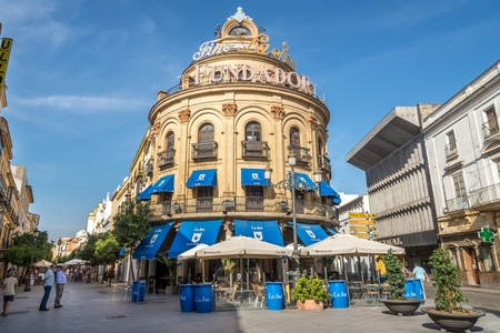gallo: JEREZ DE LA FRONTERA, SPAIN - SEPTEMBER 30,2017 - Building Gallo Azul in the streets of Jerez de la Frontera. Jerez is known as the city of flamenco, sherry, horses and motorcycles.