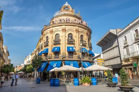 JEREZ DE LA FRONTERA, SPAIN - SEPTEMBER 30,2017 - Building Gallo Azul in the streets of Jerez de la Frontera. Jerez is known as the city of flamenco, sherry, horses and motorcycles.