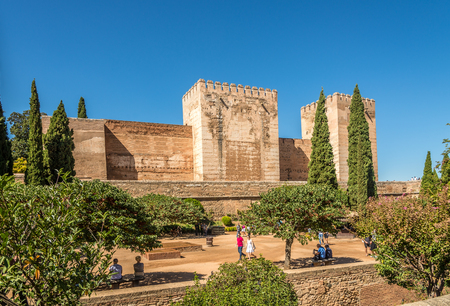 GRANADA,SPAIN - OCTOBER 3,2017 - View at the Alcozaba fortress in Alhambra center of Granada. Granada is located at the foot of the Sierra Nevada mountains.
