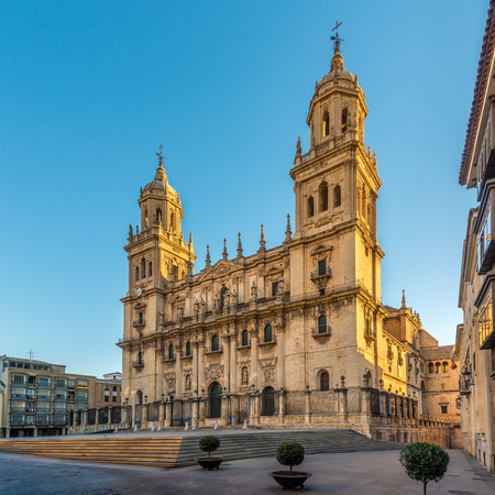 View at the Cathedral of Jaen at the Santa Maria place in Spain Standard-Bild