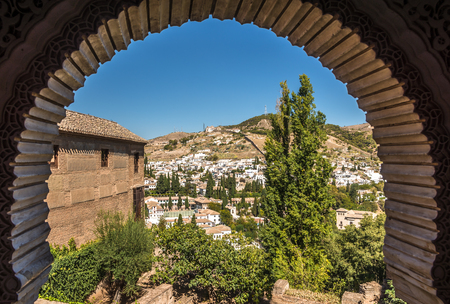 View from decorative window at the Albaicin district in Granada - Spain