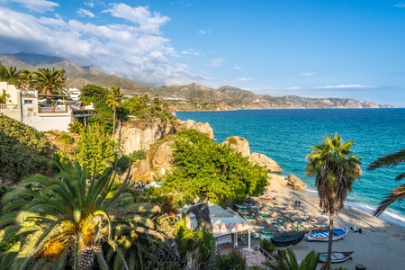 NERJA,SPAIN - OCTOBER 4,2017 - View at the  Mediterranean coast from Balcon de Europa in Nerja. Nerja is a municipality on the Costa del Sol in southern Spain.