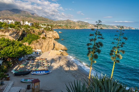 View at the  Mediterranean coast from Balcon de Europa in Nerja - Spain