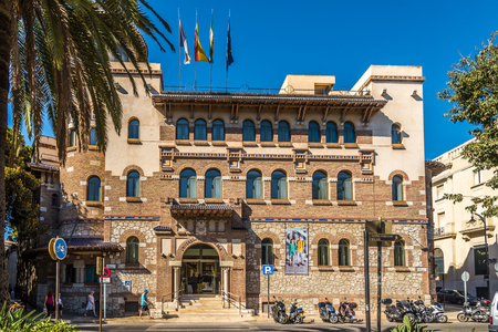 MALAGA,SPAIN - OCTOBER 5,2017 - View at the building University of Malaga. Malaga is the second-most populous city of Andalusia and the sixth-largest in Spain.