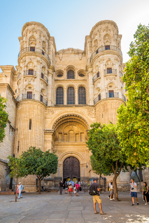 MALAGA,SPAIN - OCTOBER 5,2017 - View of the portal of the side entrance of the Cathedral in Malaga. Malaga is the second-most populous city of Andalusia and the sixth-largest in Spain. Editorial