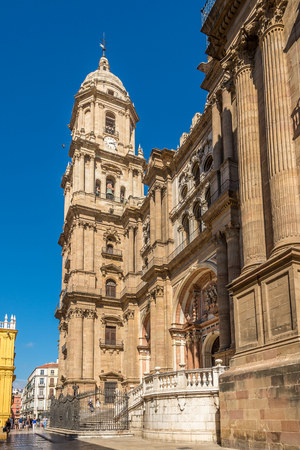 MALAGA,SPAIN - OCTOBER 5,2017 - View at the Cathedral of Incarnation in Malaga. Malaga is the second-most populous city of Andalusia and the sixth-largest in Spain. Editorial