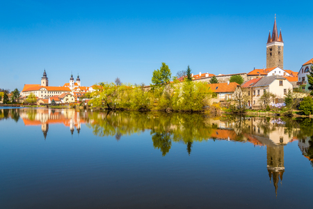 View at the old city Telc with Ulicky pond - Czech republic,Moravia