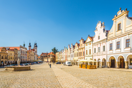 TELC, CZECH REPUBLIC - APRIL 18,2018 - View at the Main square with Painted houses in Telc. The town was founded in the 13th century.