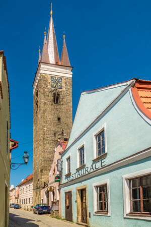 TELC, CZECH REPUBLIC - APRIL 18,2018 - View at the Church of Holy Ghost in Telc. The town was founded in the 13th century. Editorial