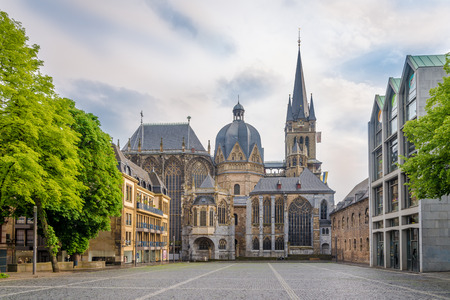 View at the Cathedral of Aachen in Germany 免版税图像