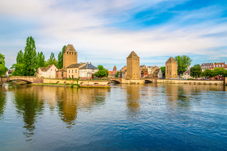 View at the Towers of Ponts Couverts from Barrage Vauban bridge in Strasbourg, France Stock Photo