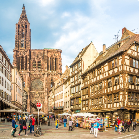 STRASBOURG,FRANCE - MAY 15,2018 - View at the Cathedral of Notre Dame in Strasbourg. Strasbourg is the capital and largest city of the Grand Est region of France and is the official seat of the European Parliament.