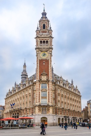 LILLE,FRANCE - MAY 19,2018 - Building Chamber of commerce with belfry in Lille. Lille  is a city at the northern tip of France, in French Flanders.