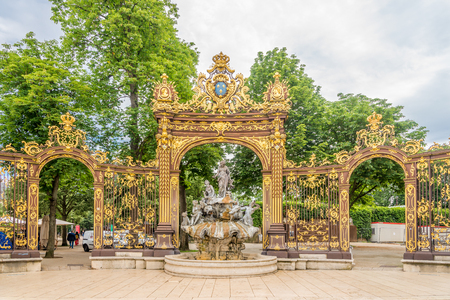 NANCY,FRANCE - MAY 23,2018 - View at the Amphitrite fountain at the Stanislas place in Nancy. Nancy is situated on the left bank of the river Meurthe. Editorial