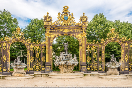 View at the Neptun Fountain at the Place of Stanislas in Nancy, France 免版税图像