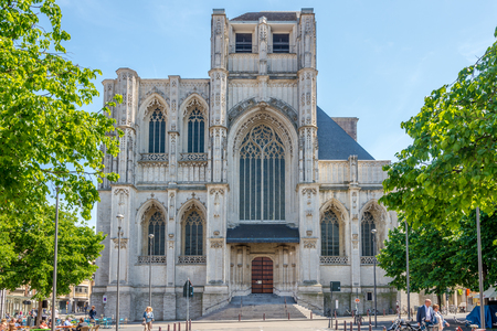 LEUVEN, BELGIUM - MAY 17,2018 - View at the fa?ade of Saint Peter church in Leuven. Leuven is located about 25 kilometers east of Brussels. Redactioneel