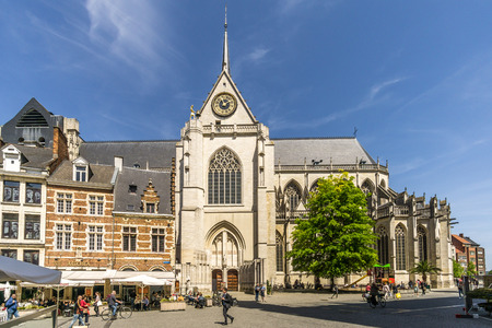 LEUVEN, BELGIUM - MAY 17,2018 - View at the church of Saint Peter in Leuven. Leuven is located about 25 kilometers east of Brussels.