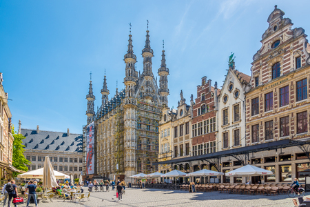 LEUVEN, BELGIUM - MAY 17,2018 - At the Grote Markt place of Leuven. Leuven is located about 25 kilometers east of Brussels.