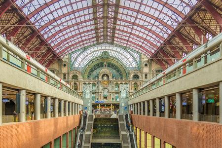 ANTWERP,BELGIUM - MAY 18,2018 - Inside of Central station in Antwerp. Antwerp is a city in Belgium, and is the capital of Antwerp province in Flanders.
