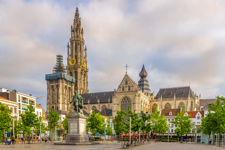 ANTWERP,BELGIUM - MAY 18,2018 - View at the Cathedral of Our Lady in Antwerp. Antwerp is a city in Belgium, and is the capital of Antwerp province in Flanders.