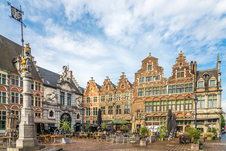 GHENT,BELGIUM - MAY 21,2018 - Buildings at the Saint Veerle place in Ghent. Ghent is a city and a municipality in the Flemish Region of Belgium.