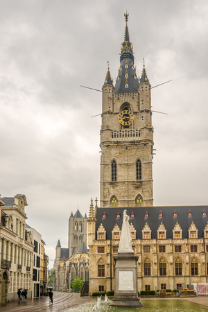 GHENT,BELGIUM - MAY 21,2018 - View at the City belfry from the Bavo place in Ghent. Ghent is a city and a municipality in the Flemish Region of Belgium.