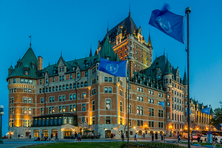 QUEBEC,CANADA - JUNE 16,2018 - Evening view at the Chateau of Frontenac in Quebec. Quebec is the capital city of the Canadian province of Quebec. 報道画像