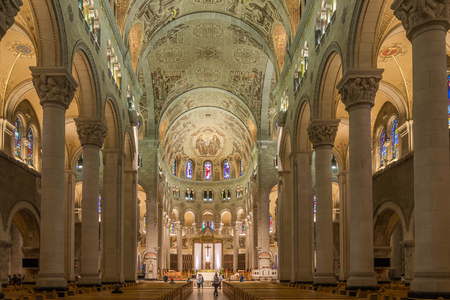 BEAUPRE,CANADA - JUNE 17,2018 - View at the Interior of Basilica Sainte Anne de Beaupre. The basilica is known as a place of miracles.