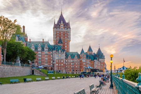 QUEBEC,CANADA - JUNE 16,2018 - View at the Chateau of Frontenac from Dufferin terrasse in Quebec. Quebec is the capital city of the Canadian province of Quebec.
