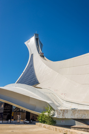MONTREAL, CANADA - JUNE 22,2018 - View at the Olymic stadium tower in Montreal. Games of the XXI Olympiad took place in 1976.