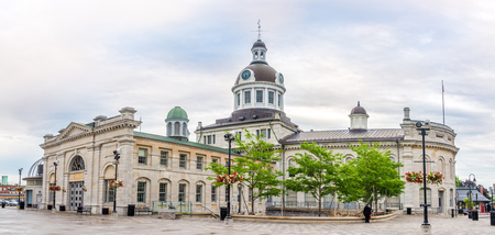 Panoramic view at the building of City hall with market in Kingston, Canada