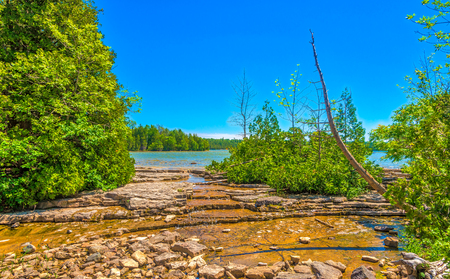 View at the nature around the pond of Cyprus Lake Trail in Bruce Peninsula National Park - Canada Stock Photo