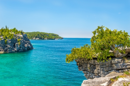 View at the nature of Indian Head Cove in Bruce Peninsula National Park, Canada