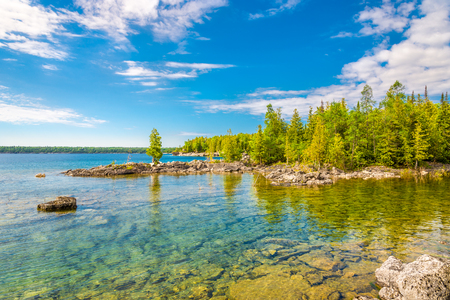 View at the nature of Bruce Peninsula National Park near Dunks Point, Tobermory, Canada