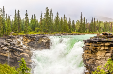 View of the cascades on the Sunwapta river in Jasper National Park, Canadian Rocky Mountains 免版税图像